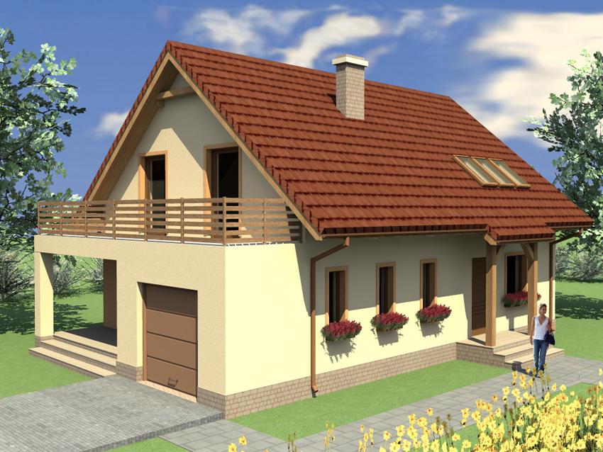 Dom jednorodzinny z tarasem od frontu